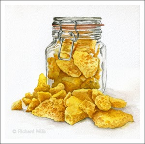 Cinder Toffee 3 (Honeycomb) - Watercolour