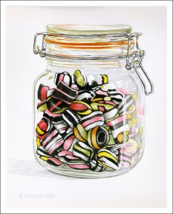 "Liquorice Satins - Watercolour 12"" x 15"""